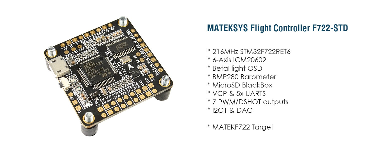 Matek F722-STD Flight Controller with Built-In OSD – Unmanned Tech